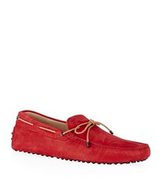 Tod's Laced Gommino Nubuck Driving Shoe Red K215ZwD