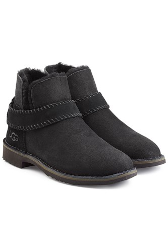 UGG Australia Mckay Fold Cuff Suede Ankle Boots With Shearling Black FLt258eD