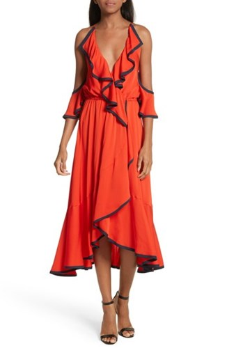 Milly Women's Bryce Ruffle Stretch Silk Fit And Flare Dress Poppy Navy EZEfht8R3a