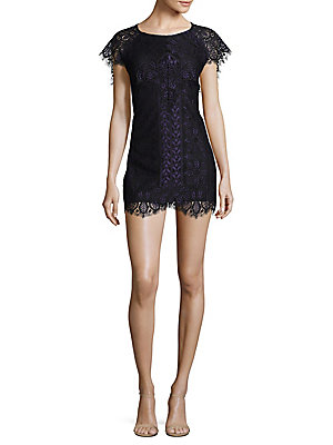 For Love & Lemons Pull On Lace Mini Dress Black Navy U9PjonW