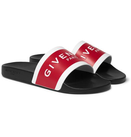 Givenchy Printed Rubber Slides Red H5tFl