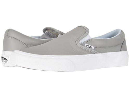 Vans Classic Slip Ontm Leather Oxford Drizzle Skate Shoes Gray bqnBe