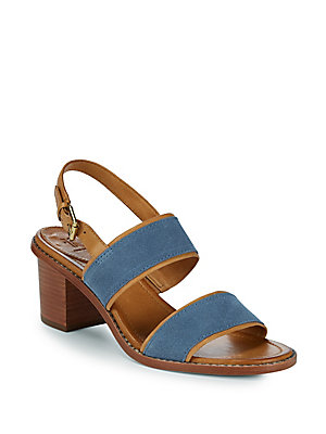 Frye Brielle Overlay Suede And Leather Slingback Sandals Aqua tCt3o