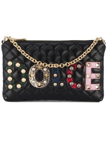 Dolce & Gabbana Applique Logo Quilted Wallet Calf Leather Lamb Nubuck Leather Watersnake Skin Black gzXqww