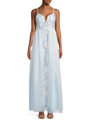 Jump Embroidered Tulle Gown Blue s6rktL