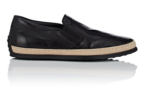 Tod's Pantofola Leather Espadrille Sneakers Black RQvGd3
