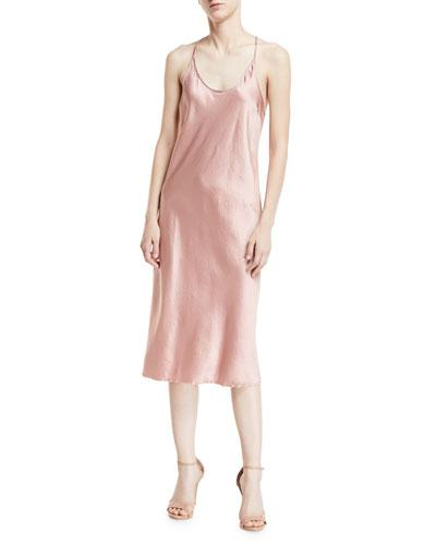 Alexander Wang Scoop Neck Racerback Woven Satin Slip Dress Blush Pobxo6X