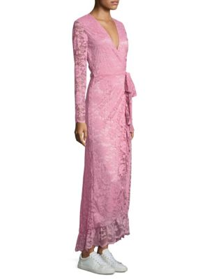 Ganni Flynn Lace Dress Sea Pink TXizT