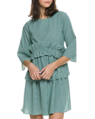English Factory Ruffle Waist Cotton Gingham Dress Emerald yxARnYiwn