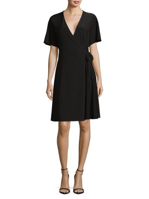 Halston Dolman Sleeve Wrap Dress Black 57O8WhY3W