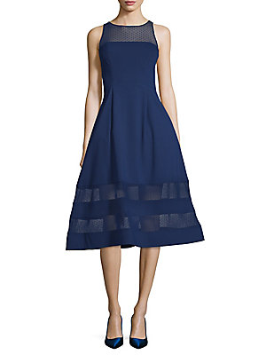 Aidan Mattox Illusion Neck Fit And Flare Dress Navy bbeIWp