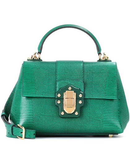 Small Dolce Shoulder Embossed Gabbana Bag Lucia Green Leather amp; qrTrzt