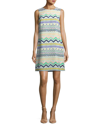 M Missoni Zigzag Print Sleeveless Silk Dress Sky QRovUhmXx
