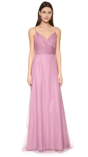Monique Lhuillier Bridesmaids Draped Tulle Gown Cerise 8oBwEO8z