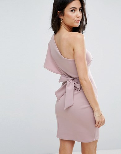 Club L One Shoulder Scuba Ruffle Detail Dress With A Bow Tie Back Detail 152706 Tpg Violet Ic Purple TYeZdydY7X
