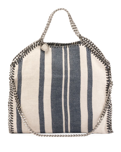 Stella McCartney Striped Canvas Chain Falabella Tote Bag Navy rGxFMN
