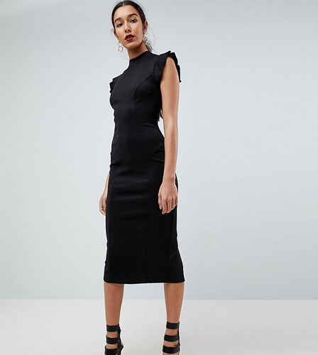 Asos Tall Midi High Neck Pencil Dress With Cut Out Back And Shoulder Detail Black oRz4p4vy