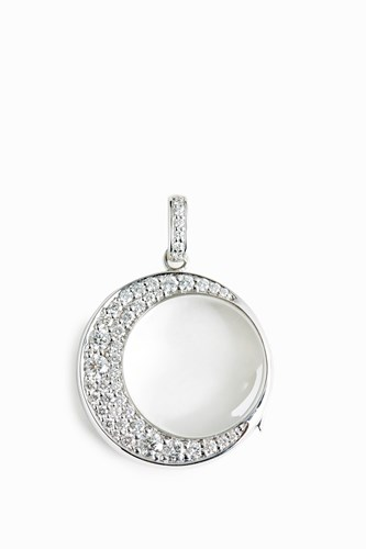 Women S 18Kt White Gold Diamond Moon Necklace Boutique1 W Gold