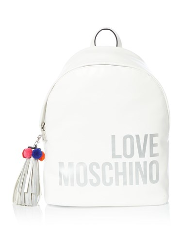 Love Moschino Logo And Tassel Medium Backpack White qftTS2n1IL