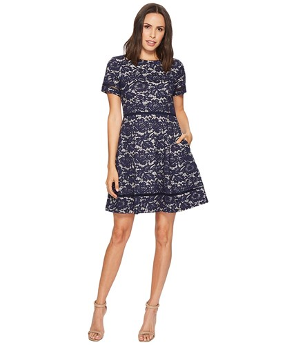 Vince Camuto Bonded Lace Fit And Flare With Pleats Navy Women's Dress ISVm9sAyMw