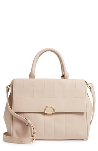 Sole Society Tracy Quilted Faux Leather Satchel Beige Taupe xB7qnm