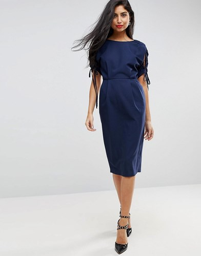 Asos Ruched Cut Out Sleeve Midi Pencil Wiggle Dress Navy ZsSWP3BVA