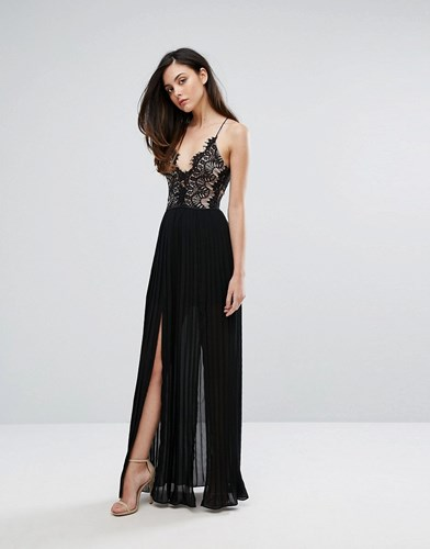 Rare London Eyelash Plunge Double Side Split Maxi Dress Black Y0qZj7q