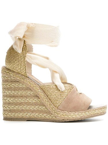 Paloma Barceló Wraparound Laced Wedge Sandals Nude And Neutrals oWLzx