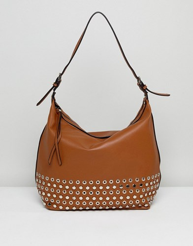 Tan Slouchy Detailing Bag Shoulder Lavand Eyelet With vq6BY0