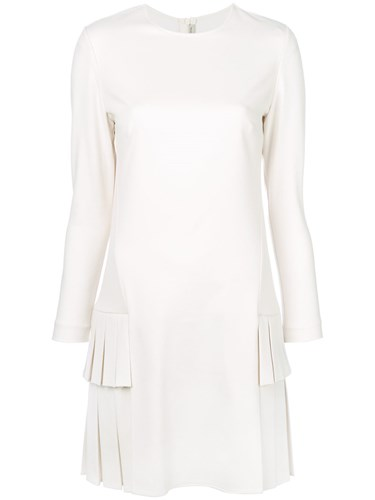 White Scervino Virgin Pleated Ermanno Wool Fitted Dress Y8qww6d