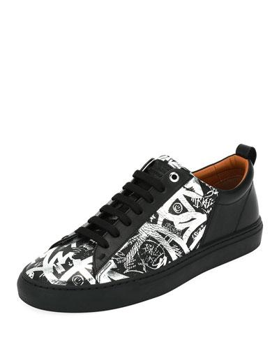 Silver Print Herbi Leather Graffiti Bally Sneaker Top Black Low w4vTWRq18