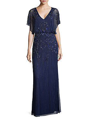Aidan Embellished Gown Navy Blouson Mattox OOqwrp8