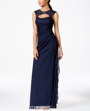 Betsy & Adam B A Lace Trim Cutout Ruched Gown Navy rGy8U1