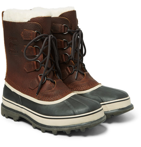 Sorel Caribou Waterproof Full Grain Leather And Rubber Snow Boots Brown WbSkXkfk