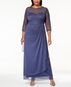Alex Evenings Plus Size Embellished Sweetheart Gown Violet 9mmCq