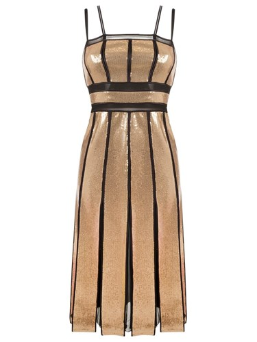 Reinaldo Lourenço Pleated Sequin Dress Metallic uywXlm