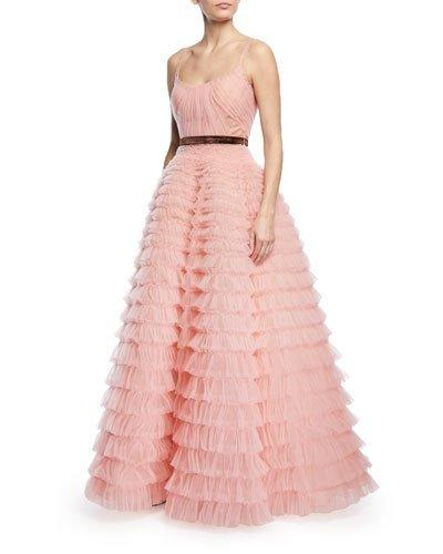 J. Mendel Sleeveless Tiered Ruffled Tulle Ball Gown Pink i04Nc
