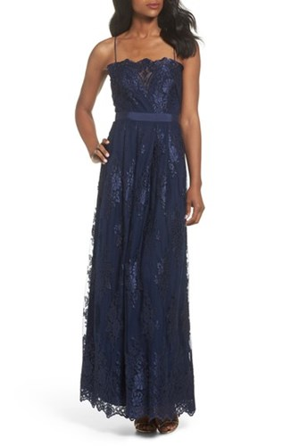 Vince Camuto Lace Gown Navy 76741Uo