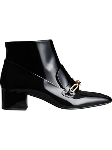 Burberry Link Detail Patent Leather Ankle Boots Black I82cnxJn