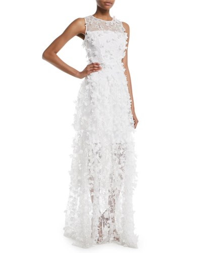 Gown 3D Tulle Siena Milly Sleeveless Ivory Embroidered BEUXwH8nq