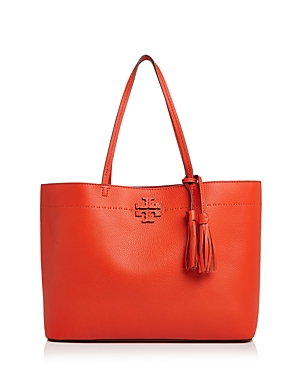 Tory Burch Mcgraw Medium Leather Tote Poppy Red Gold 8KVRToCt