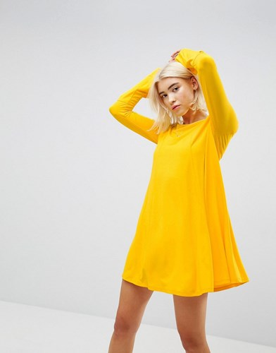 Asos Mini Swing Dress With Seam Detail And Trumpet Sleeve Mustard Yellow 2NMBmbTcX