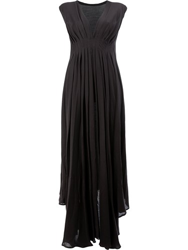 Black Ann Cotton Wool Gown Rayon Demeulemeester Draped wFPxYF4H
