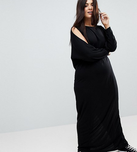 Asos Curve Maxi Harem Dress With Cold Shoulder And Long Sleeves Black HILHEei