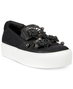 Kenneth Cole Reaction Women's Cheer Floral Platform Sneakers Women's Shoes Black pkwd2MrDG