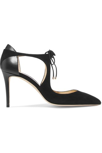 Jimmy Choo Vanessa 85 Cutout Suede And Leather Pumps Black Ld5cuhrMAW