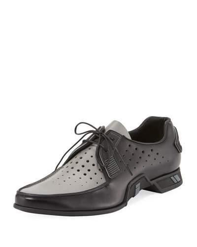 Prada Two Tone Spazzolato Lace Up Loafer Black lhmZZUh