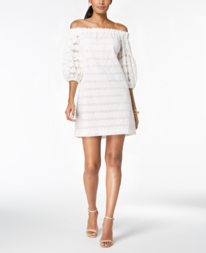 Vince Camuto Off The Shoulder Balloon Sleeve Dress White th3hxs
