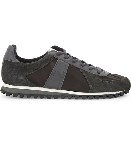 Sandro Tx 03 Leather And Suede Lace Up Trainers Grey V0zOh