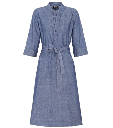 A.P.C. Oleson Cotton Chambray Dress Blue 6s83S